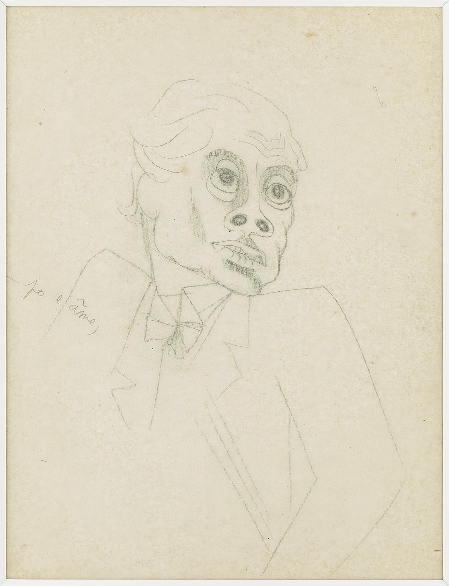 """"""" Portrait d'Homme """"  . """"Portait of a man """" original drawing. certified ."""