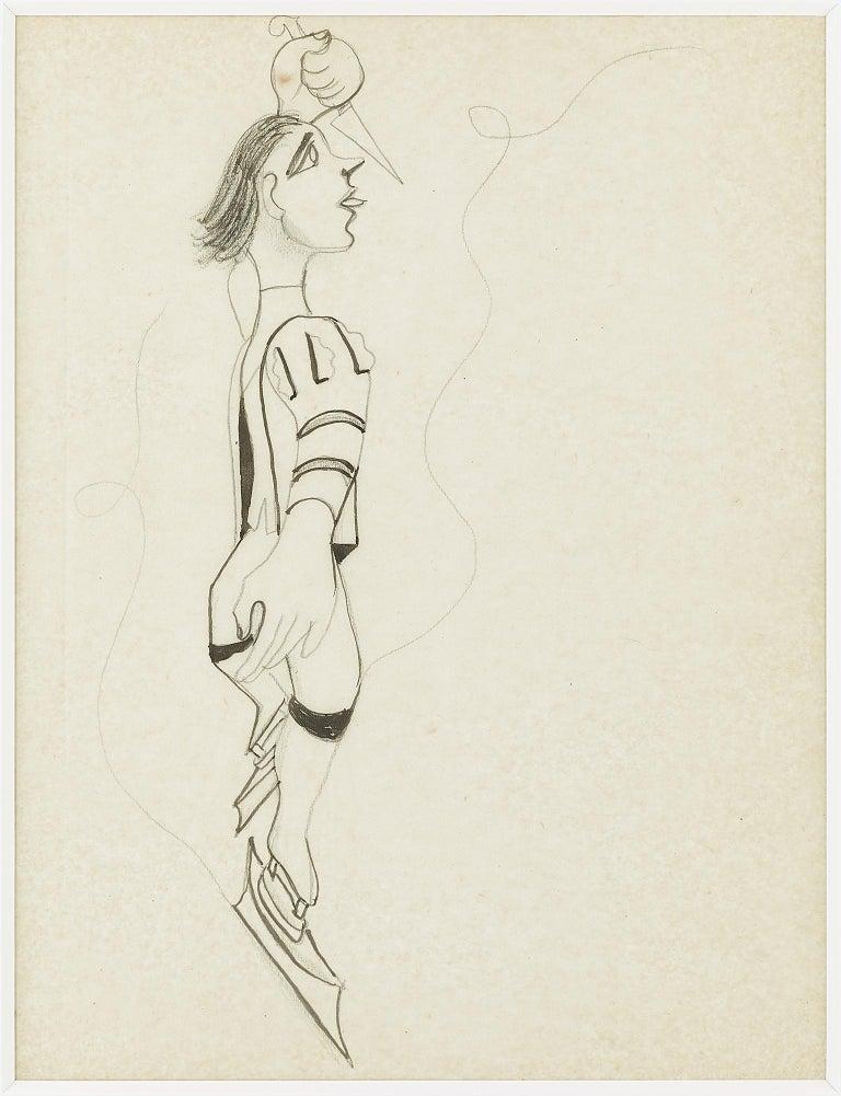 """Jean Cocteau Portrait -  """"  le Patineur """" original drawing ;""""Ice Skater """" by J. Cocteau . certified"""