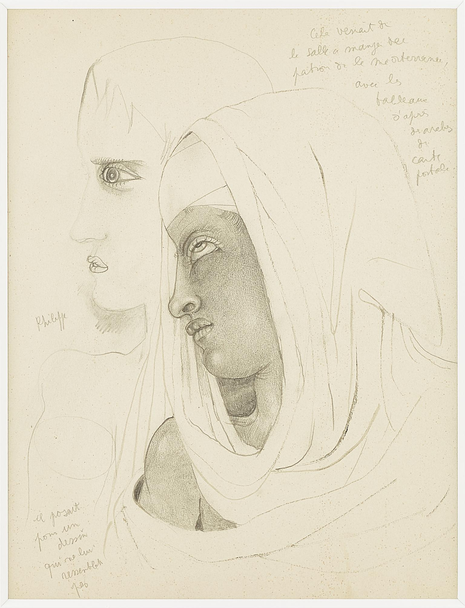 """"""" Philippe """"  original drawing  """" two profile """"  by J. Cocteau . certified ."""