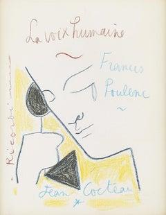 """ La voix Humaine "" original drawing "" Human Voice "" by J. Cocteau .certified ."
