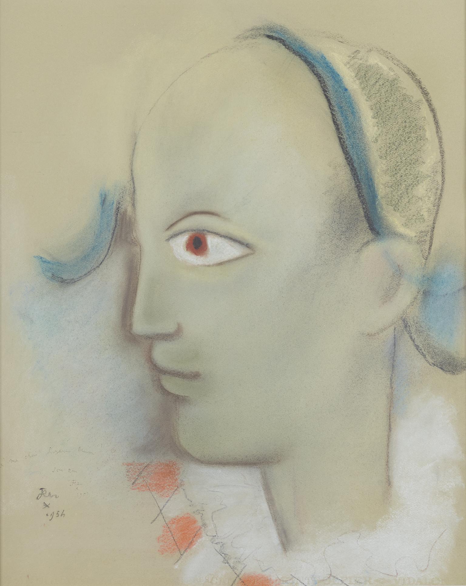 L'Arlequin à l'oeil Orange, Pastel on Paper