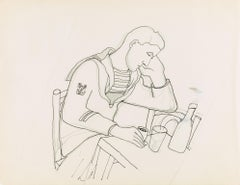 """marin au vin triste "" original drawing by Jean Cocteau .certified"