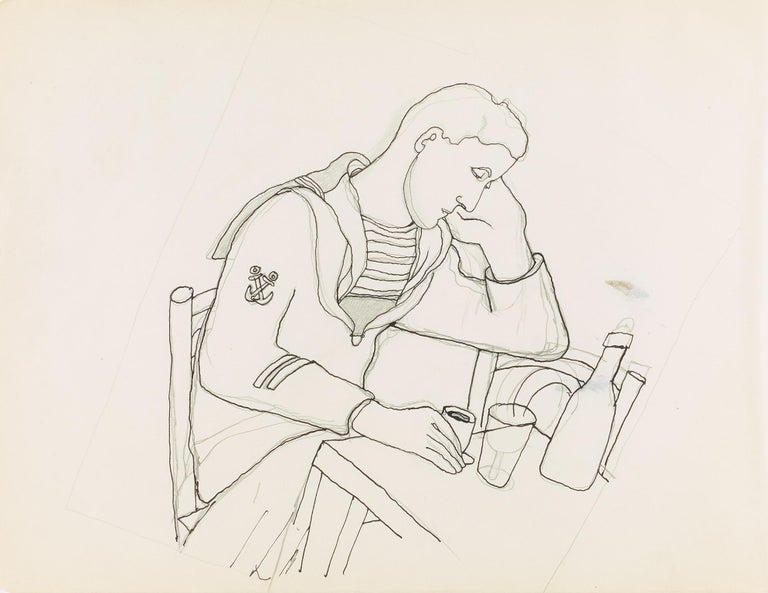 """""""marin triste """" ou """"No Chance """" is an original drawing by Jean Cocteau (1925) . certified by Madame Annie Guedras . 26 x 34  cm ."""