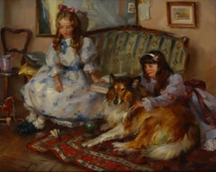 'Friends', Two Young Girls on a Sofa, with a Collie on a Rug
