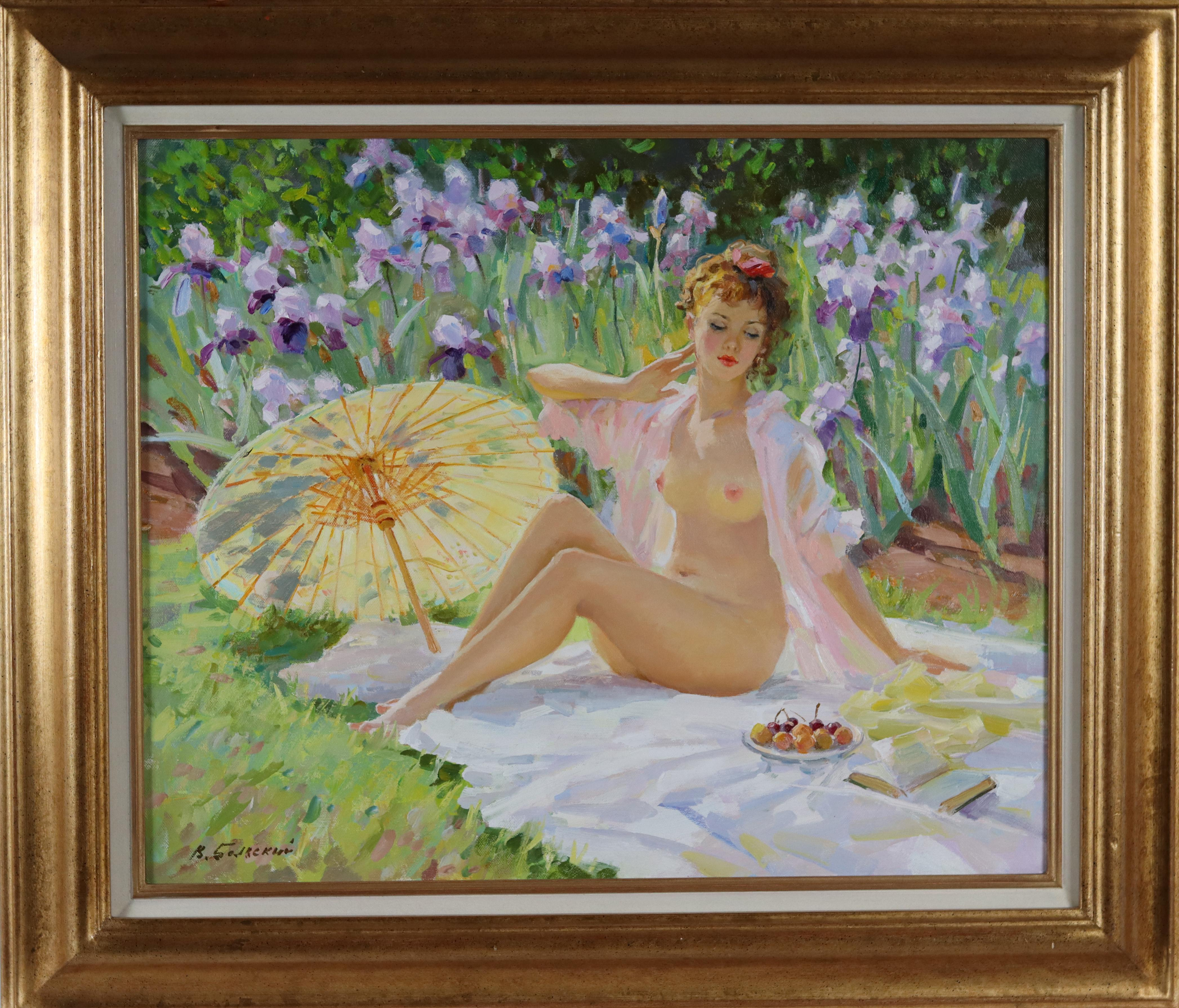A Nude with a Parasol, sitting on a Rug next to Irises