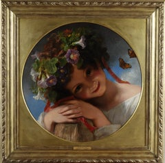 'Morning Glory' -A Portrait of a Young Girl Wearing a Garland of Flowers
