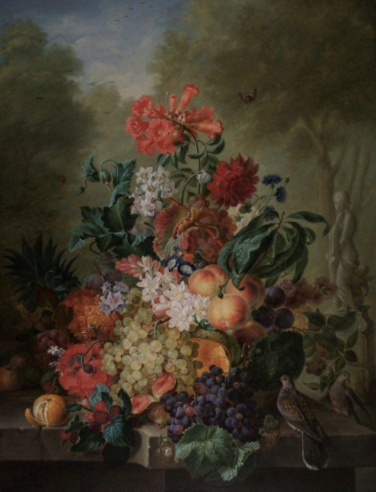 Edouard Vasselon Still-Life Painting - An abundance of Fruits and Flowers on a ledge, with Doves and a