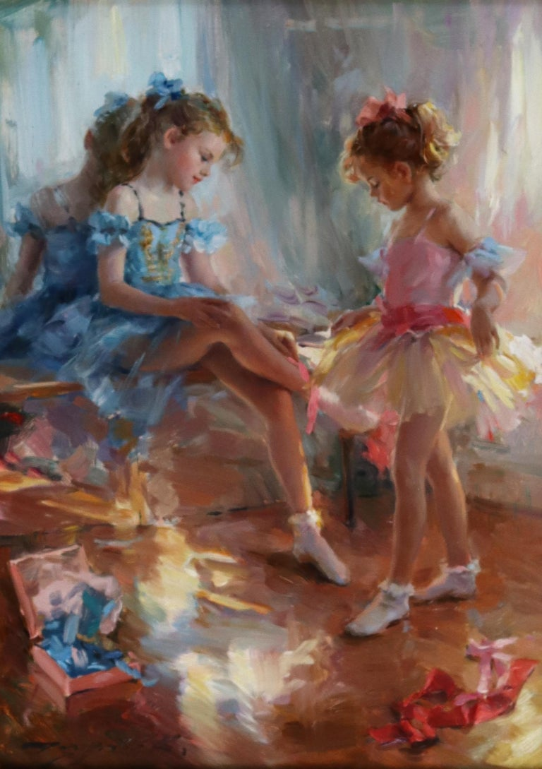 Konstantin Razumov  Figurative Painting - Young Girls waiting for a Ballet Performance