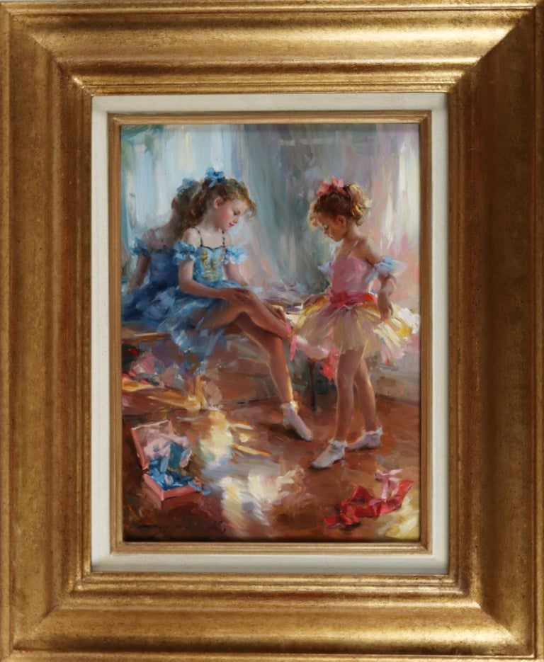 Young Girls waiting for a Ballet Performance - Painting by Konstantin Razumov