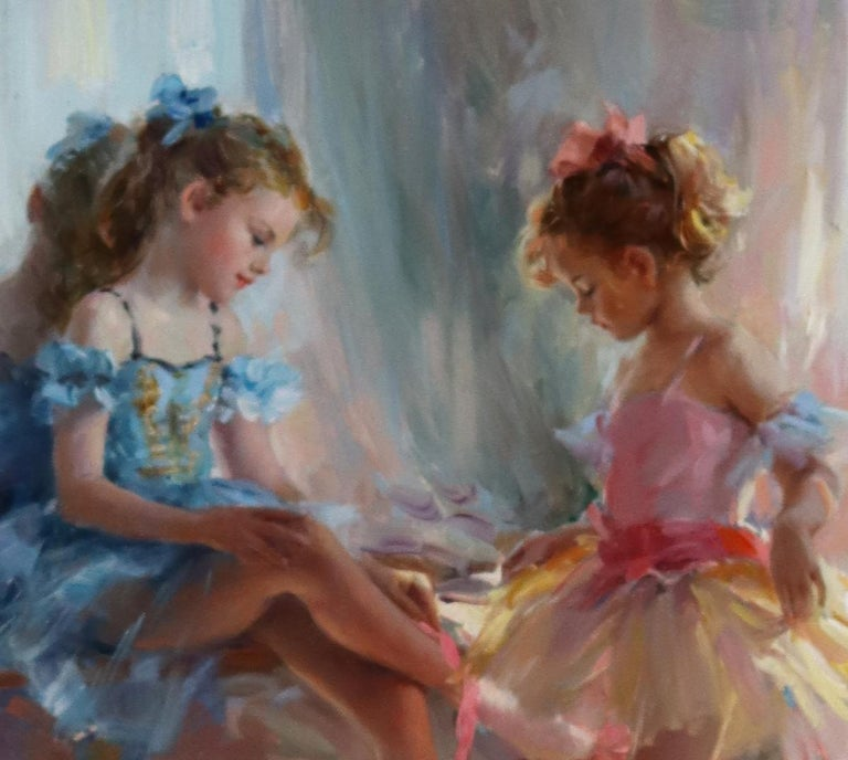 Young Girls waiting for a Ballet Performance - Impressionist Painting by Konstantin Razumov