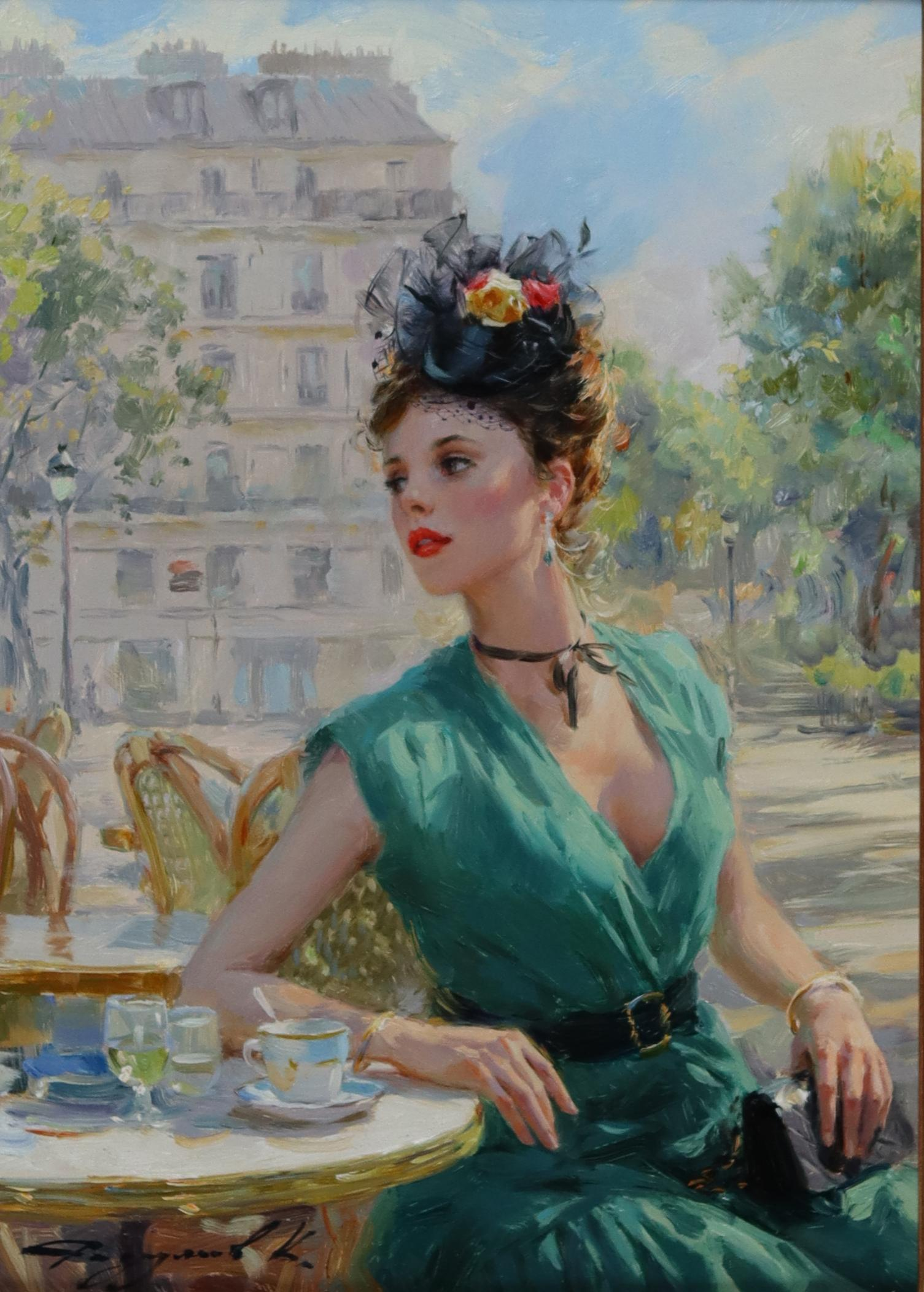 Pretty Young Lady in a Green Dress, Seated at a Parisian Café