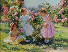 Three Young Girls in a Rose Garden