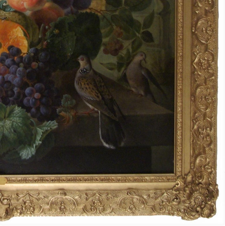 An abundance of Fruits and Flowers on a ledge, with Doves and a  - French School Painting by Edouard Vasselon