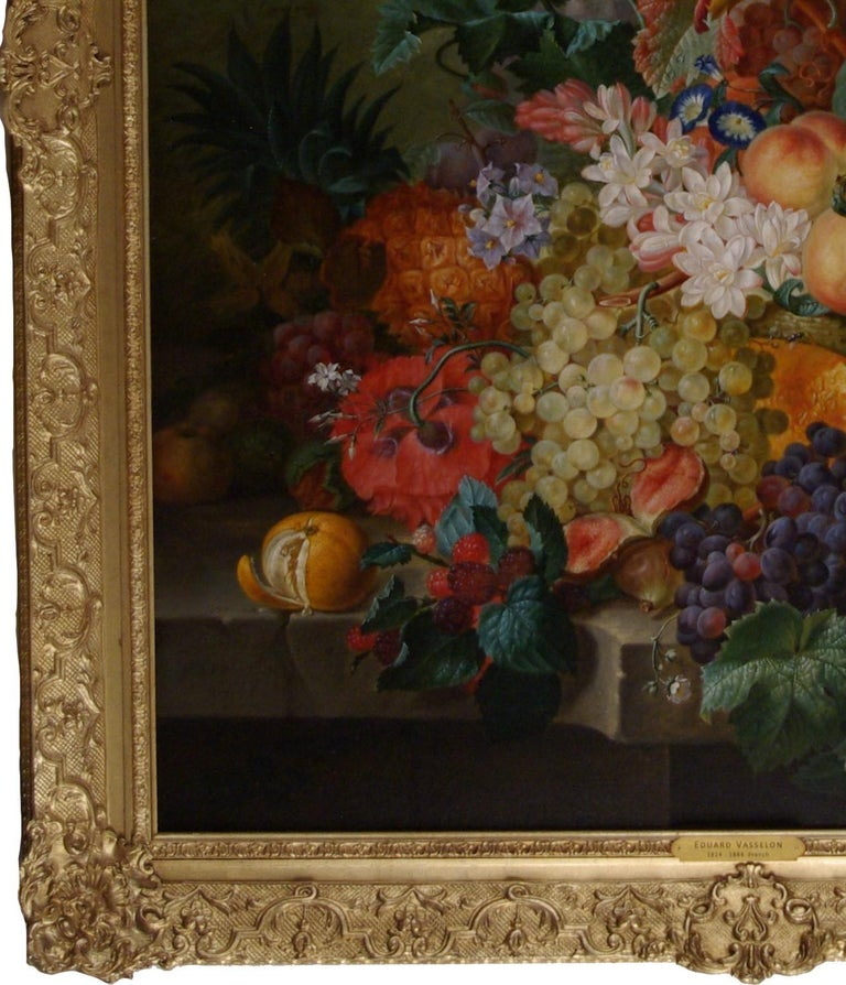 An abundance of Fruits and Flowers on a ledge, with Doves and a  - Black Still-Life Painting by Edouard Vasselon