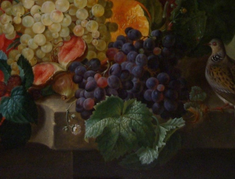Edouard Vasselon (1814-84) French  A Still Life of an abundance of Fruits and Flowers on a ledge, with Doves and a Classical Figure.  Oil on canvas: 45 x 34 in. frame:  52 x 41 in. Signed & dated 1848   Edouard Vasselon was born in Marseille 19th