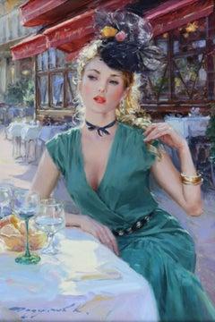 Elegant Lady in a Green Dress, Seated at a Parisian Café