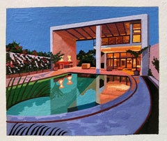 Andy Burgess, Curve Pool, Gouache on Watercolour Paper, Modern architecture
