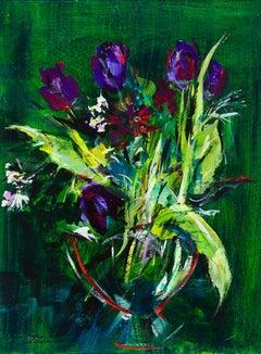 Tuëma Pattie, Hyacinths and Purple Tulips, Acrylic on Board