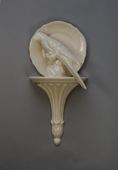 Matt Smith, Sconce Parrot with Plate Looking Left, White Earthenware