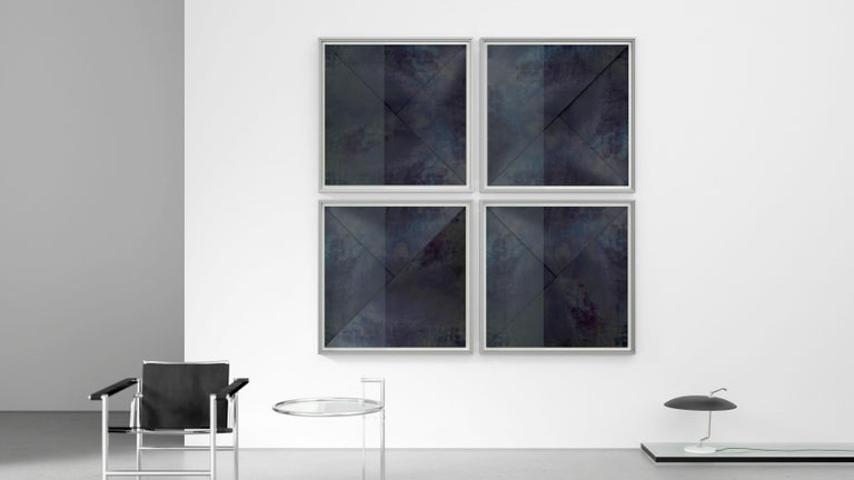 Skyscraper  De Castelli Edition. Limited Edition of 20 Pieces.  Through a manual oxidation treatment the natural black iron sheets acquire a somber chromatic pattern. The geometric arrangement of the triangular forms generates a graphic experiment