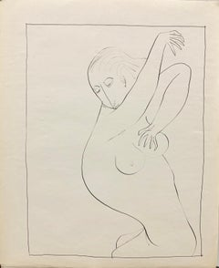 """""""Shower"""" 1950s Female Nude Ink Line Drawing NYC Art Students League"""