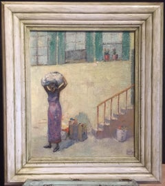 """1934 """"Laundry Day"""" Attr. Isaac Muse American Modernist Oil Painting"""