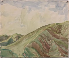 """Open Sky Over Foothills"" 1964 Bay Area Watercolor Landscape Painting"