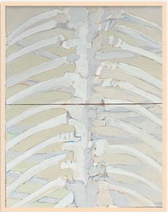 """1960s """"Rib Cage"""" Oil on Canvas Painting Art Institute of Chicago"""