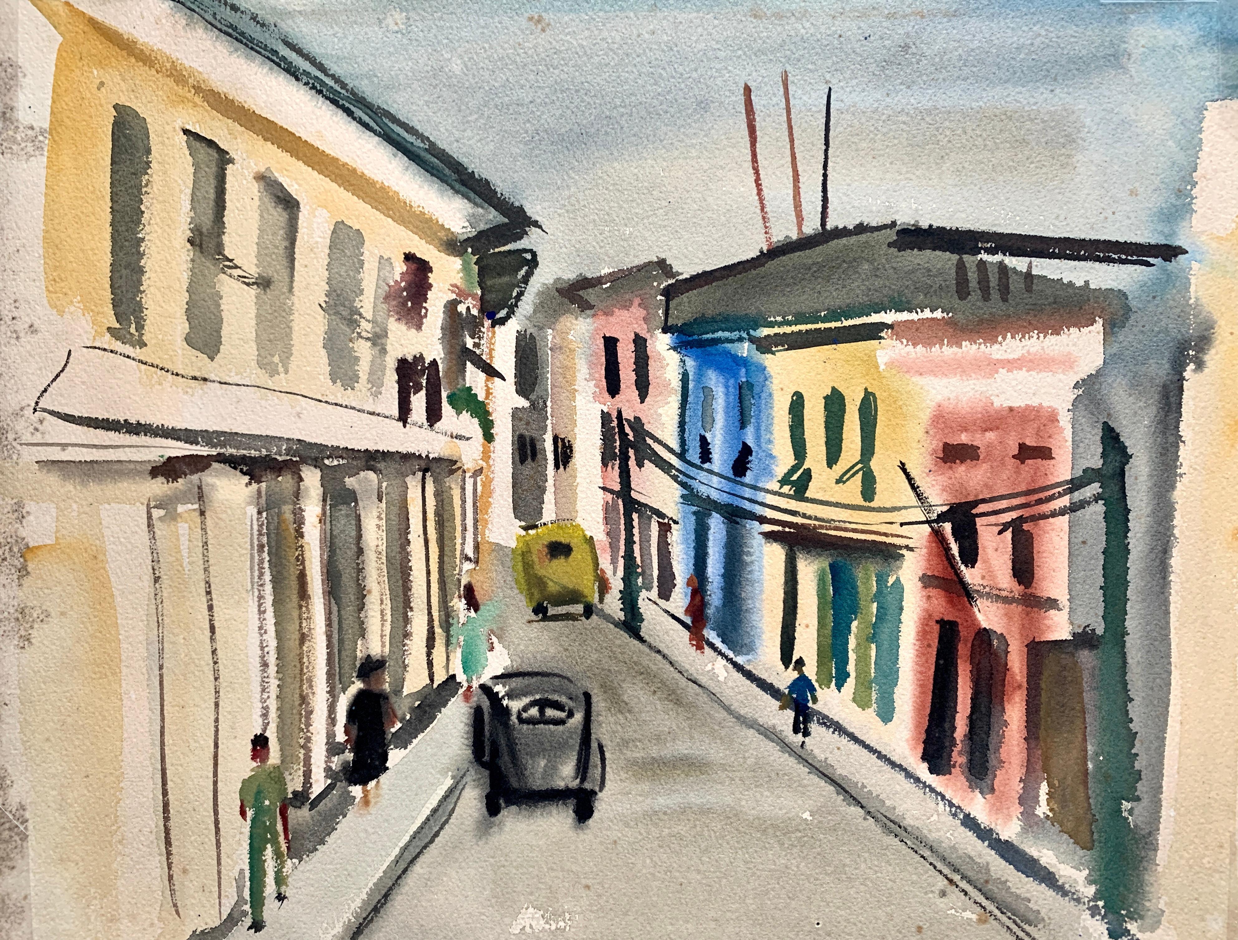 "1950s ""City Street Scene"" Bay Area Female Mid Century Artist Gouache Landscape"
