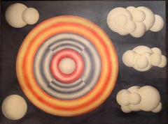 """1969 """"Rainbow Ring In the Clouds"""" Abstract Painting Mid Century Original Art"""