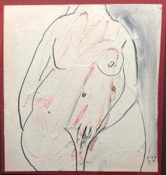 "1960s ""No Head"" Tempera and Pencil Female Nude Painting Mid Century Original"
