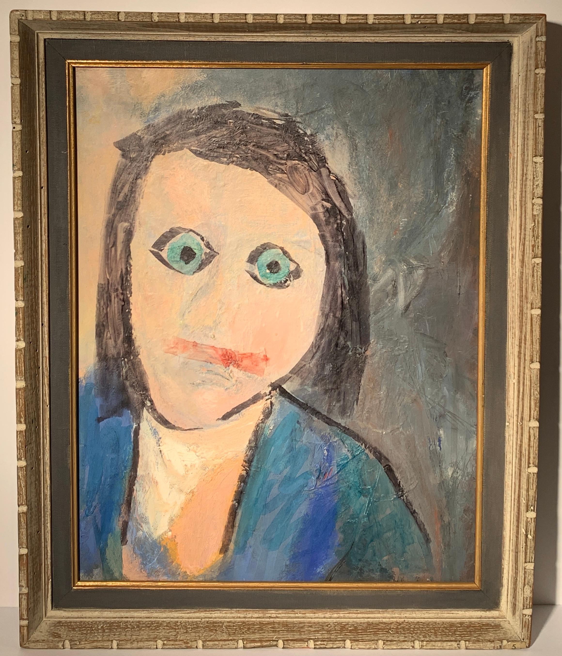 "1964 ""Homage to a Friend"" Oil Portrait Painting Eunice Golden"