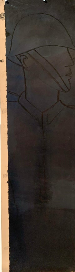 """1960s """"Soldier"""" Acrylic and Charcoal Painting NYC Mid Century Female Artist"""