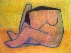 "1970s ""Orange Abstract Figure"" Pastel Female Nude Drawing Benoit Gilsoul"