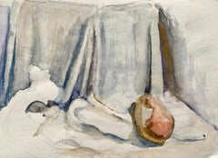 "1960s ""Still Life with Pear"" Mid Century Watercolor Still Life Original Painting"