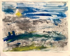 """1960s """"Blue Sky, Blue Hills"""" Hand Colored Etching Abstract Landscape"""