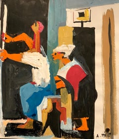 """1950s """"Study from the Spinners"""" American Modern Acrylic Figurative Painting"""