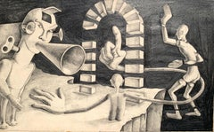"""1940s """"Toy Story"""" Charcoal and Pencil Surreal Drawing"""