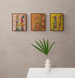 1980s Set of Three Original Abstract Drawings NYC Artist