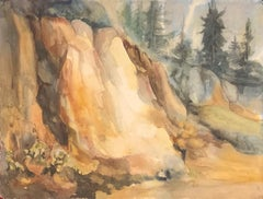 """1960s """"Mountain Side"""" Watercolor Landscape California Gold Country Mid Century"""