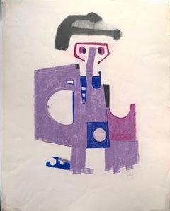 "1970s ""Black Hat"" Pastel Figurative Drawing Benoit Gilsoul"