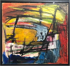 """1960s """"Storm at Sea"""" Gouache and Oil Pastel Abstract SF Artist"""