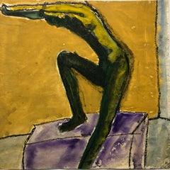 "1960s ""Diving"" Gouache & Oil Pastel Bay Area Figurative Movement"