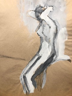 """1960s """"Playing with Hair"""" Gouache & Oil Pastel Bay Area Figurative Movement"""