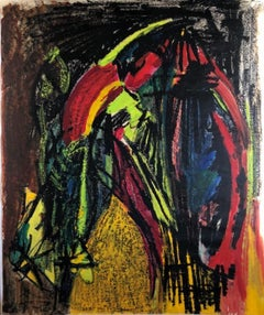 1960s Bay Area Abstract Expressionism Female Artist Pastel and Paint on Paper
