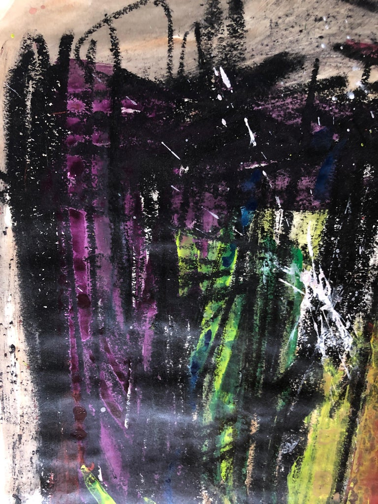 Gloria Dudfield Neon Comet Abstract Expressionism 1960s Oil Pastel and Gouache on Paper 36