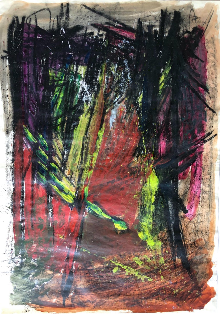 """Gloria Dudfield Abstract Painting - Mid Century """"Neon Comet"""" Gouache and Oil Pastel Abstract Bay Area Female Artist"""