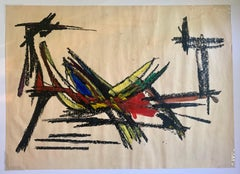 """1960s """"Fruit Bowl in Mexico"""" Gouache & Oil Pastel Abstract Mid Century"""