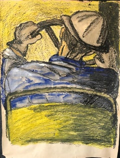 """Mid Century """"Driver with Hard Hat"""" Gouache and Oil Pastel Figurative 1960s SF"""