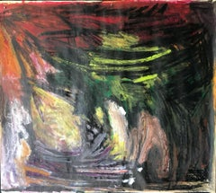 """Mid Century """"Red at Top"""" Gouache and Oil Pastel Abstract Bay Area Female Artist"""